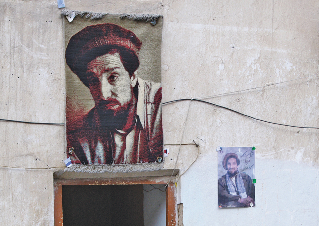 Ahmad Shah Massoud weaving and poster, Panjshir Valley, Afghanistan, 2010. Colin Cookman/Flickr.