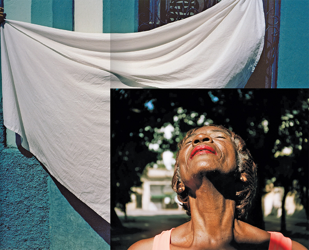 "Rose Marie Cromwell, composite image of On the Street, 2009–16, print on adhesive vinyl, 60 × 80"" (background), and Martica, 2009–16, ink-jet print, 30 × 40"" (foreground)."