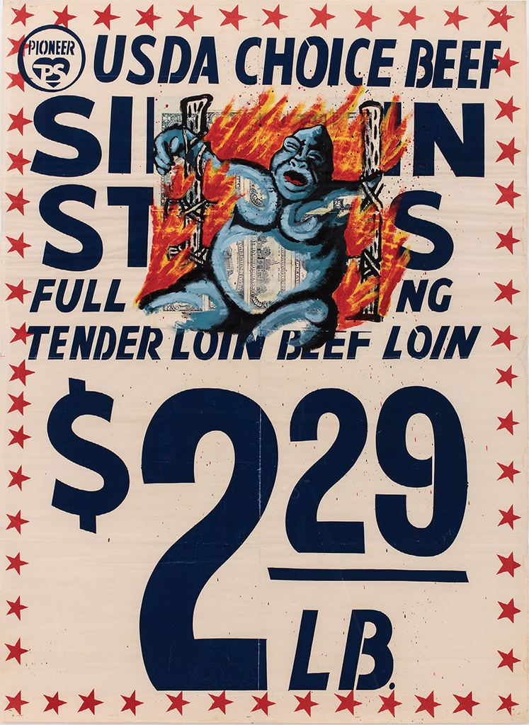 "David Wojnarowicz, USDA Choice Beef, 1985, acrylic on found poster, 42 × 31 1/2"". From Brand New: Art and Commodity in the 1980s. © The Estate of David Wojnarowicz, courtesy the Estate of David Wojnarowicz"