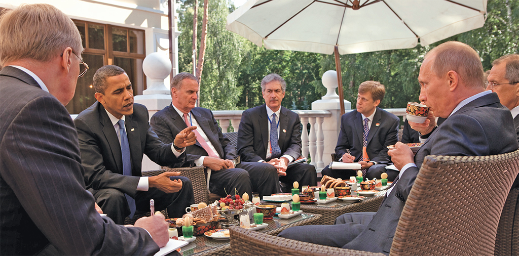 President Barack Obama, National Security Advisor Jim Jones, Under Secretary of State for Political Affairs Bill Burns, and NSC Senior Director for Russian Affairs Mike McFaul, meet with Prime Minister Vladimir Putin at his dacha outside Moscow,