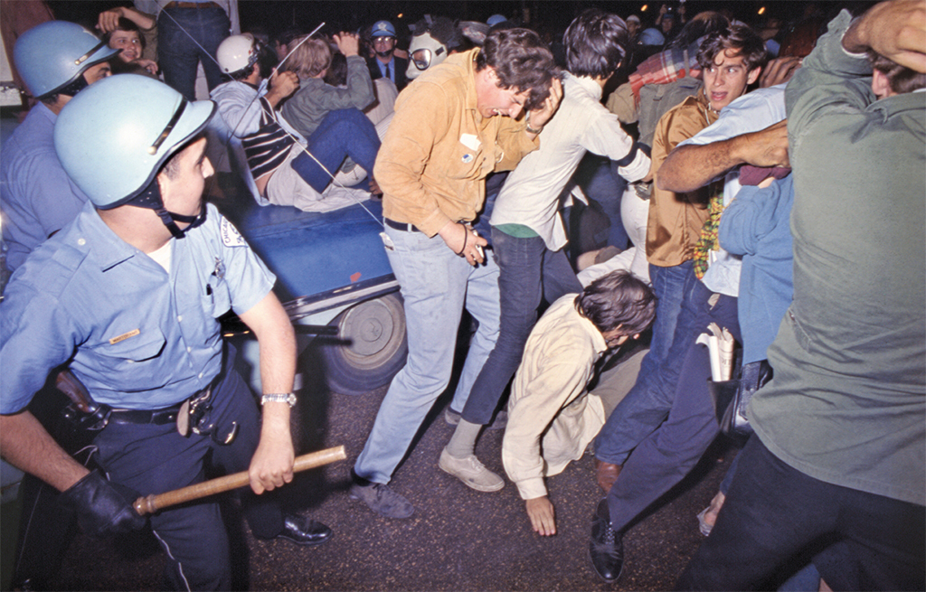 "Art Shay, Police Clear the Park, Democratic National Convention, Chicago, 1968, ink-jet print, 11 × 17""."