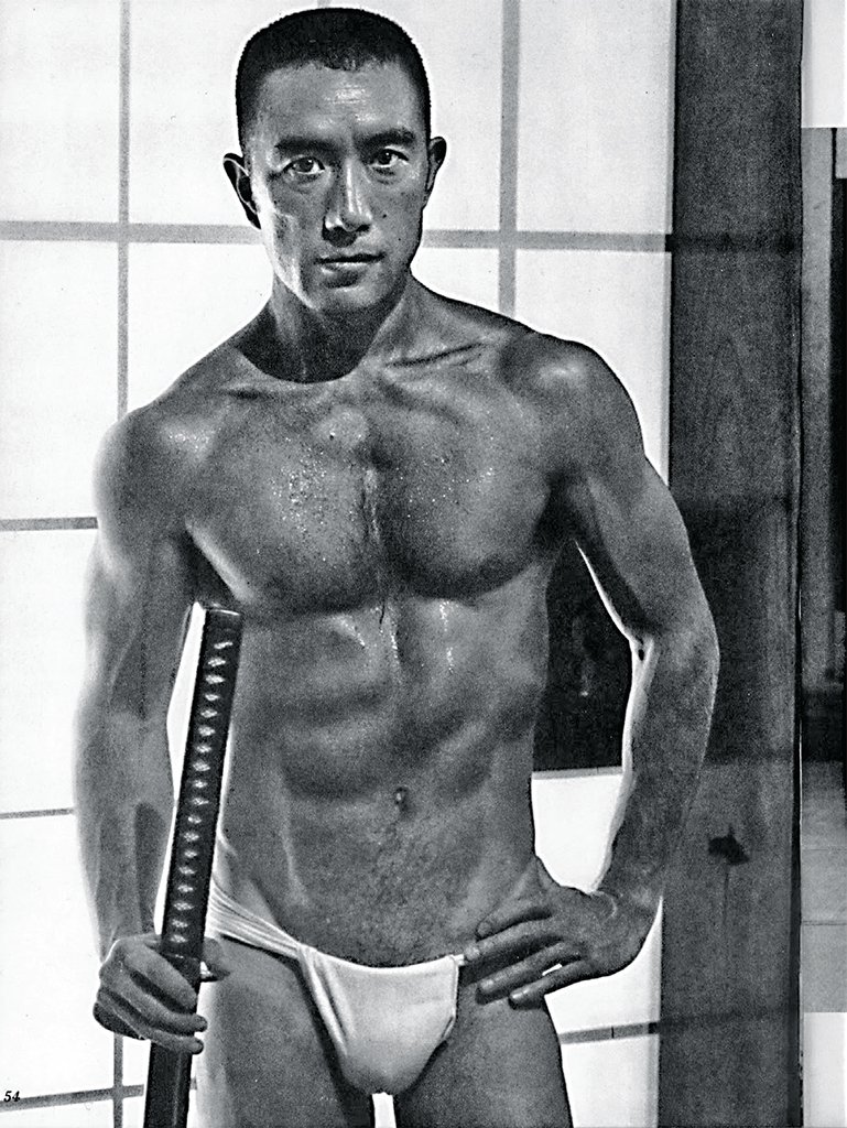 Yukio Mishima, ca. 1967. Tamotsu Yatō, from Young Samurai: Bodybuilders of Japan (Grove Press, 1967); Wikicommons.