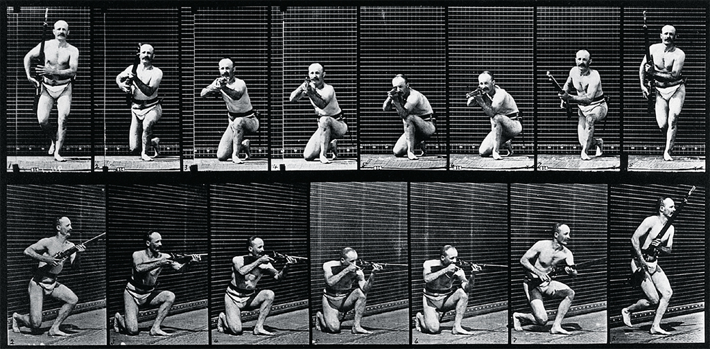 "Eadweard Muybridge, A Man Firing a Gun (detail), 1887, collotype, 9 1⁄4 × 12 5⁄8"". Wellcome Library/University of Pennsylvania."