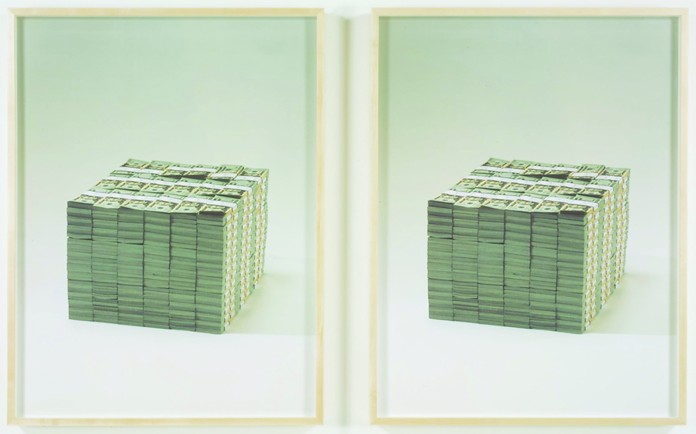 "Piero Golia, Two Million Dollars (detail), 2007, diptych, two color prints, each 41 X 31""."