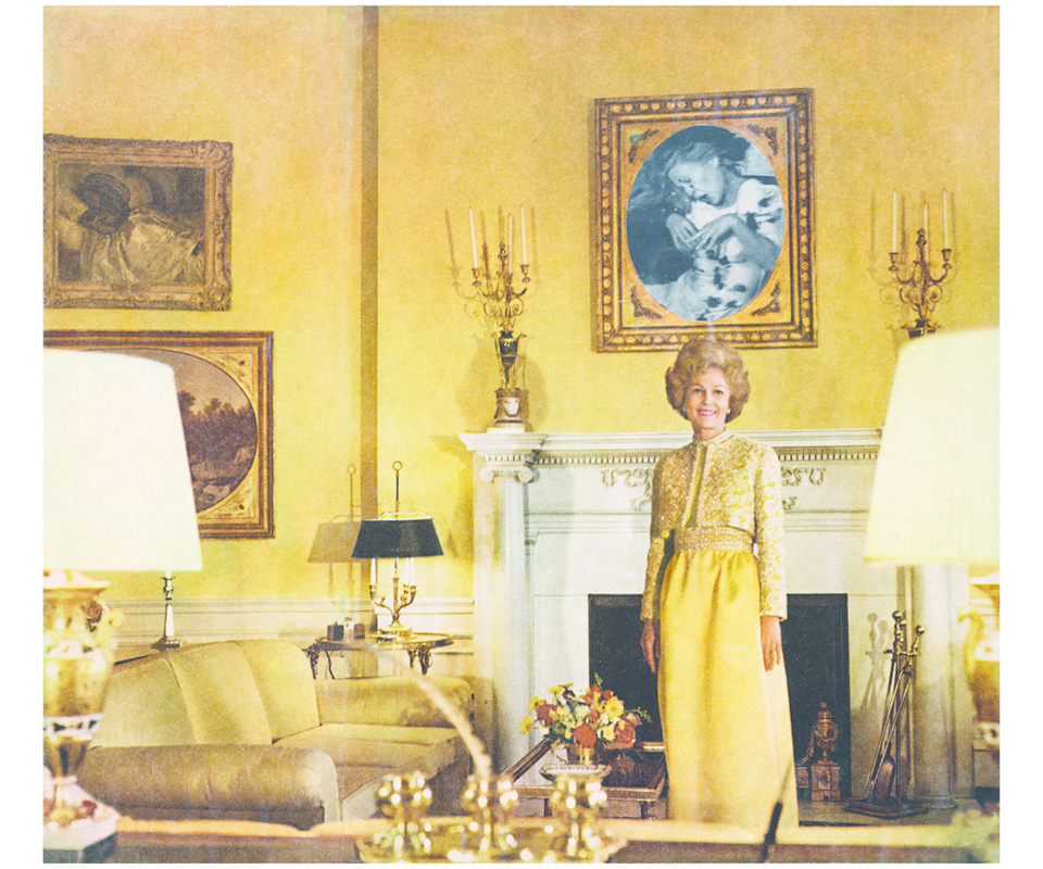 "Martha Rosler, First Lady (Pat Nixon), ca. 1967–72, photomontage. From the series ""HouseBeautiful: Bringing the War Home,"" ca. 1967–72."