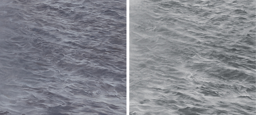 "Vija Celmins, A Painting in Six Parts(details), 1986–87/2012–16, oil on six canvases, overall 1' 31⁄8"" × 20' 11""."