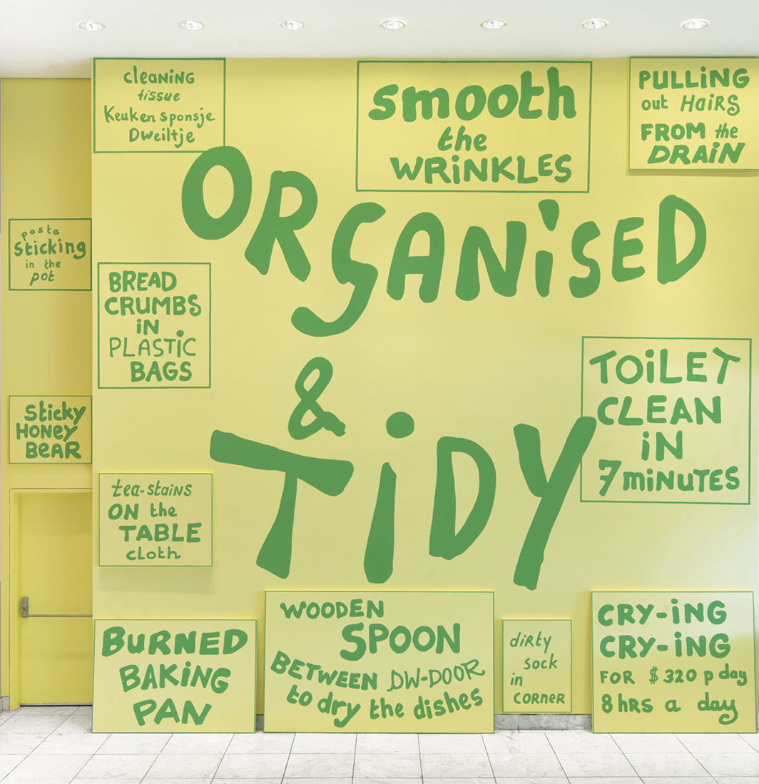 Lily van der Stokker, The Tidy Kitchen (detail), 2015, acrylic on wood panels. Installation view, Hammer Museum, Los Angeles.