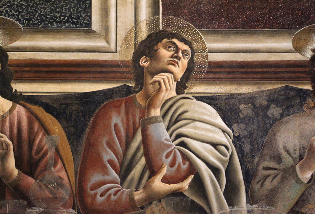 "Detail of Saint Thomas from Andrea del Castagno's Last Supper, 1445–50, fresco, 14' 10"" × 32'."