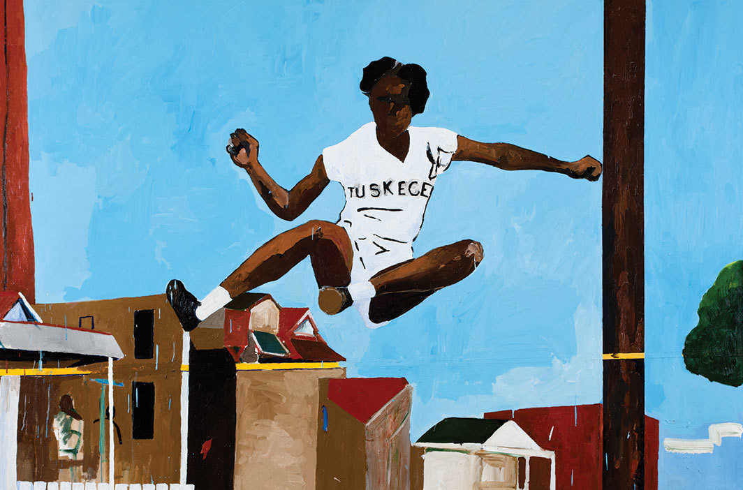 "Henry Taylor, See Alice Jump, 2011, acrylic on canvas, 76 1⁄2 × 113""."