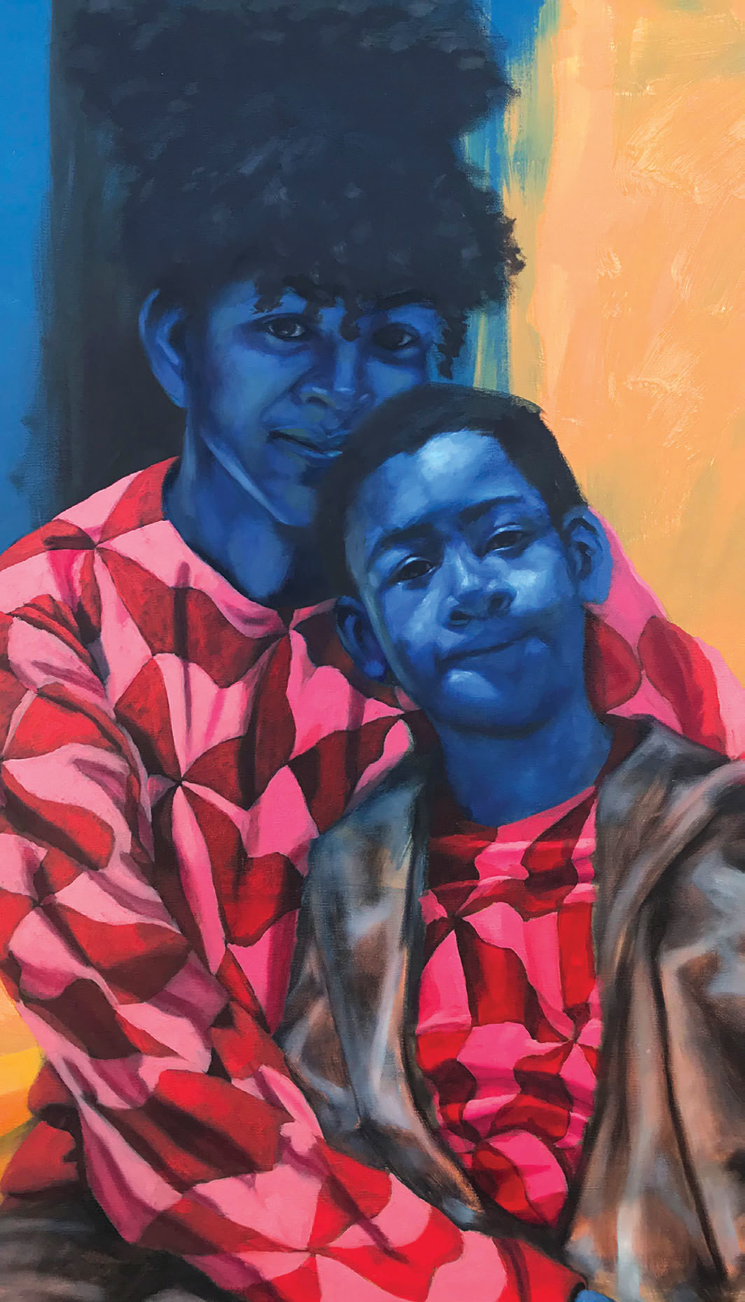"Spencer Evans, Mother to Son (Keadra and Xavier) (detail), 2018, oil and acrylic on canvas, 36 x 36""."