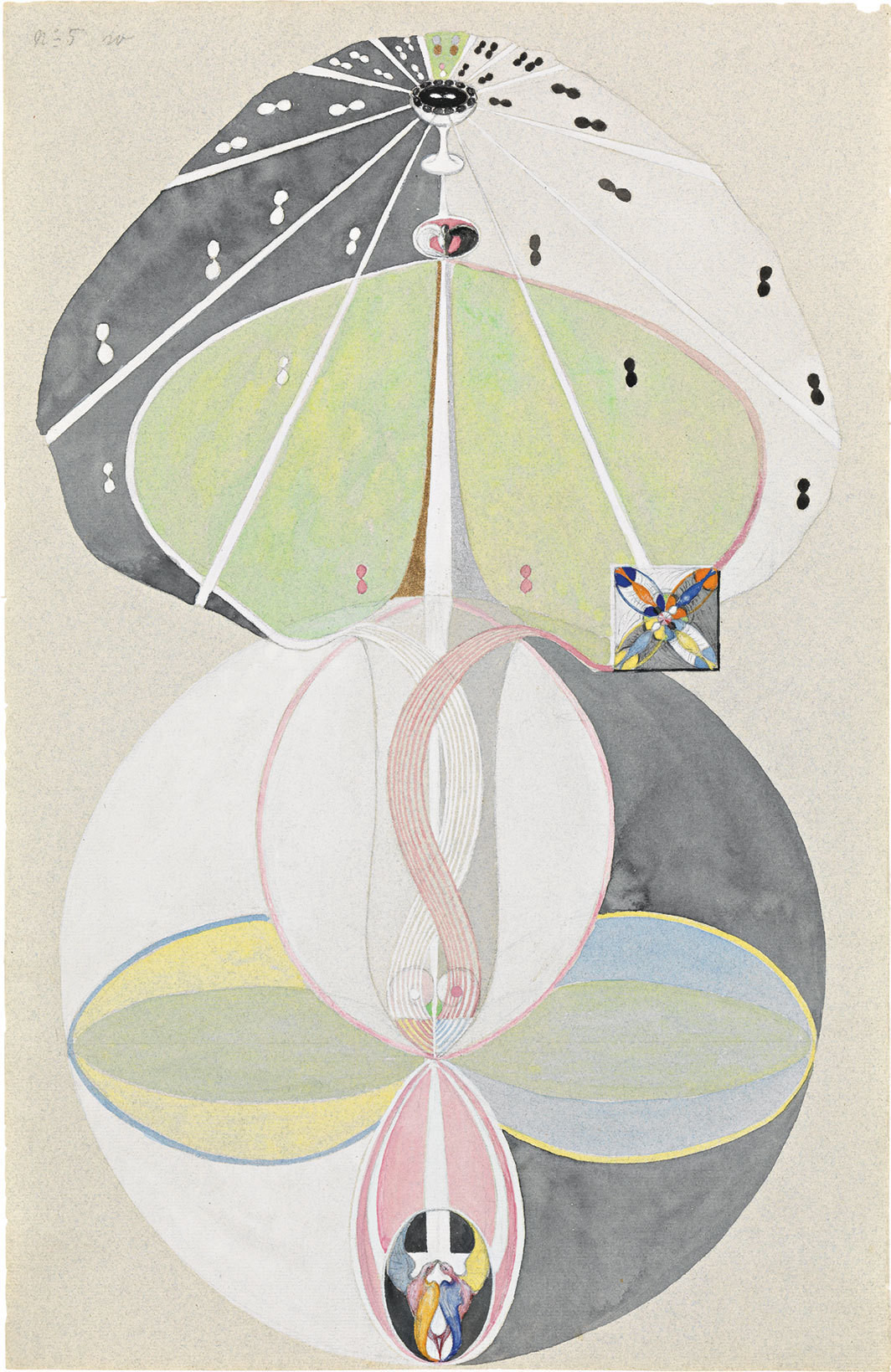 "Hilma af Klint, Kunskapens träd, nr 5 (Tree of Knowledge, No. 5), 1915, watercolor, gouache, graphite, and metallic paint on paper, 18 × 11 5⁄8"". From ""W Series."""