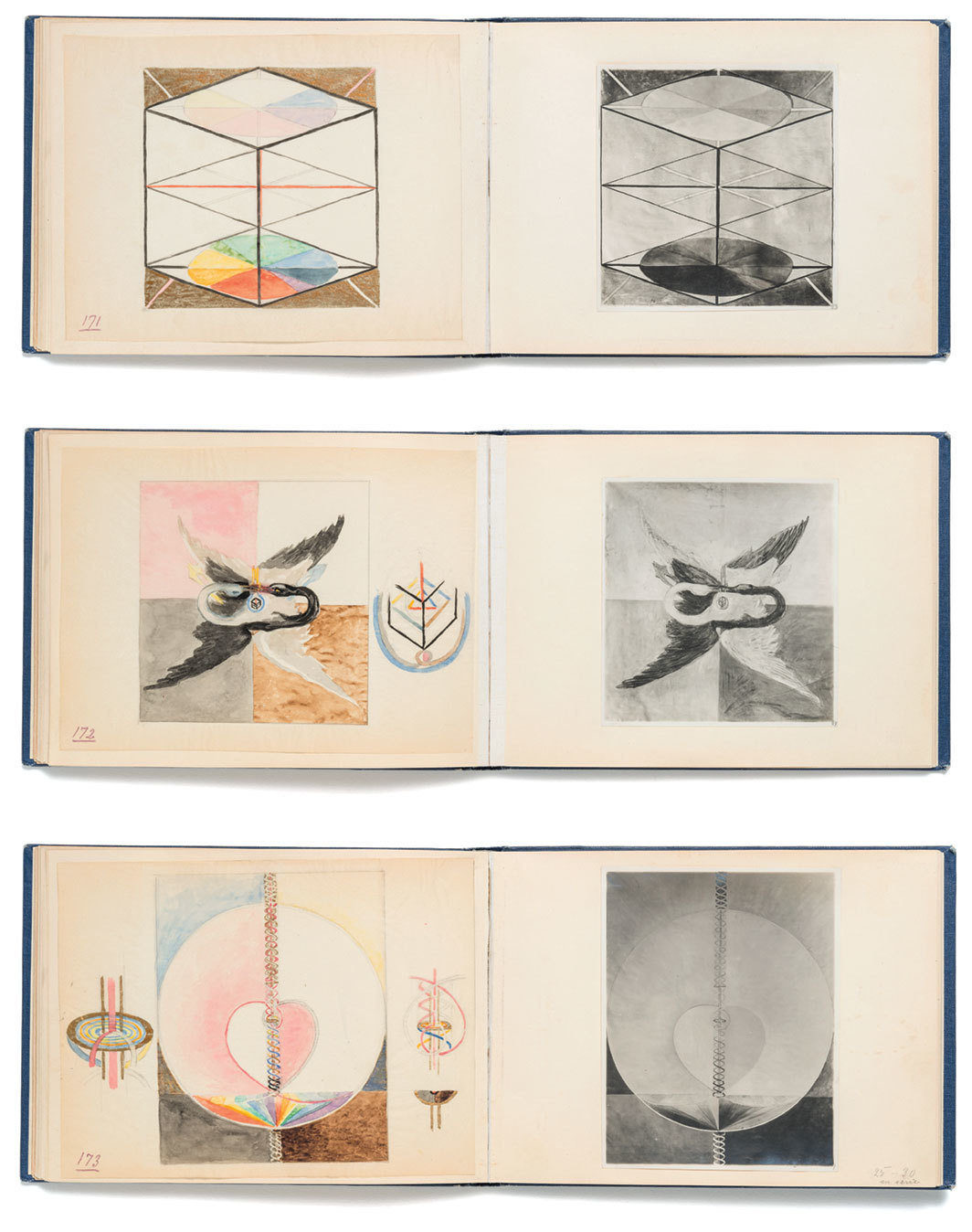 "Three spreads from Hilma af Klint's Blue Book 1179, 1914–15, mixed media on paper and gelatin silver prints mounted in clothbound book, overall 6 7⁄8 × 17 3⁄4""."