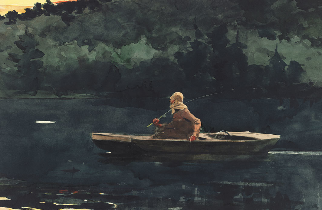 "Winslow Homer, The Rise, 1900, watercolor and graphiteon wove paper, 13 3⁄4 × 20 3⁄4""."
