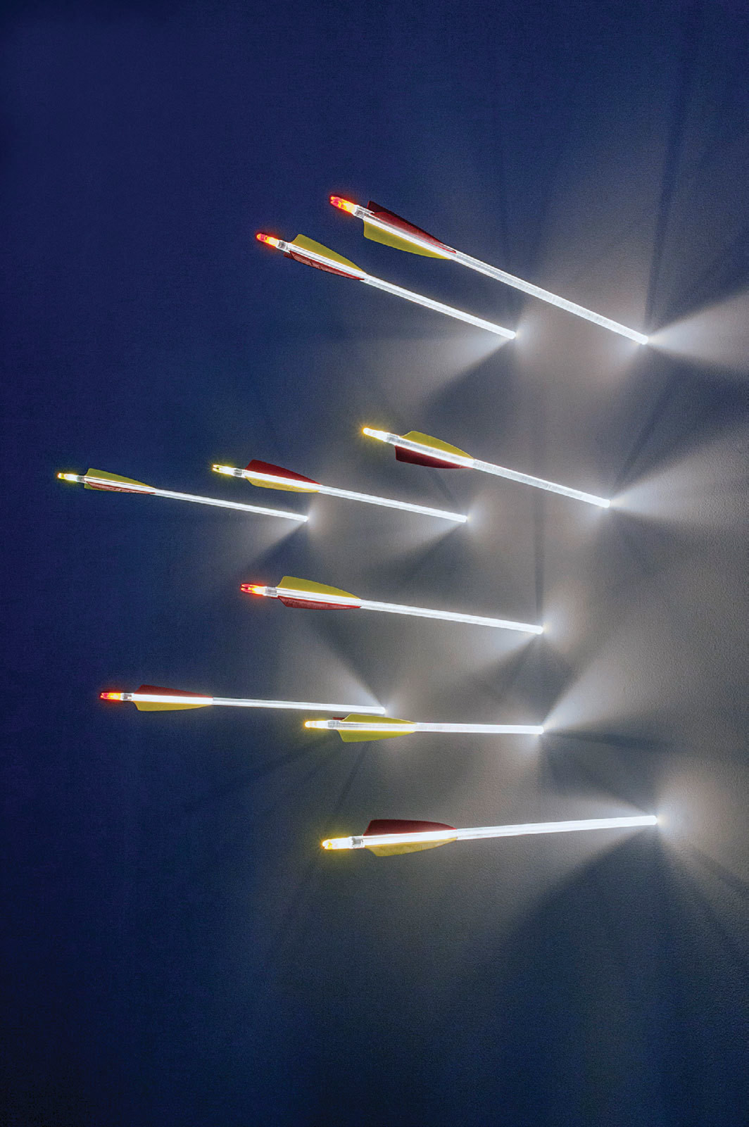 Hans Kotter, Arrows, 2014, Plexiglas, LED lights, feathers, dimensions variable.