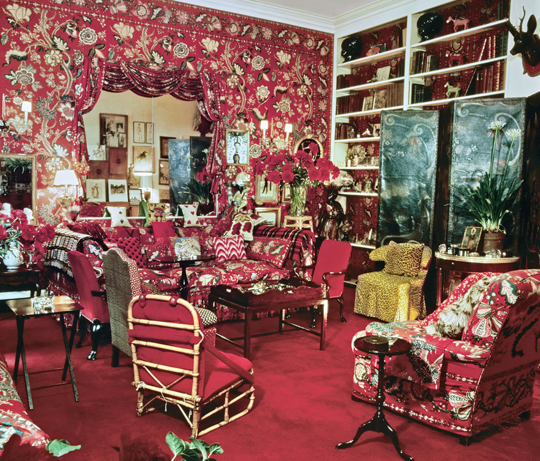 Diana Vreeland's apartment living room, New York, 1975. From Architectural Digest, September/October 1975.
