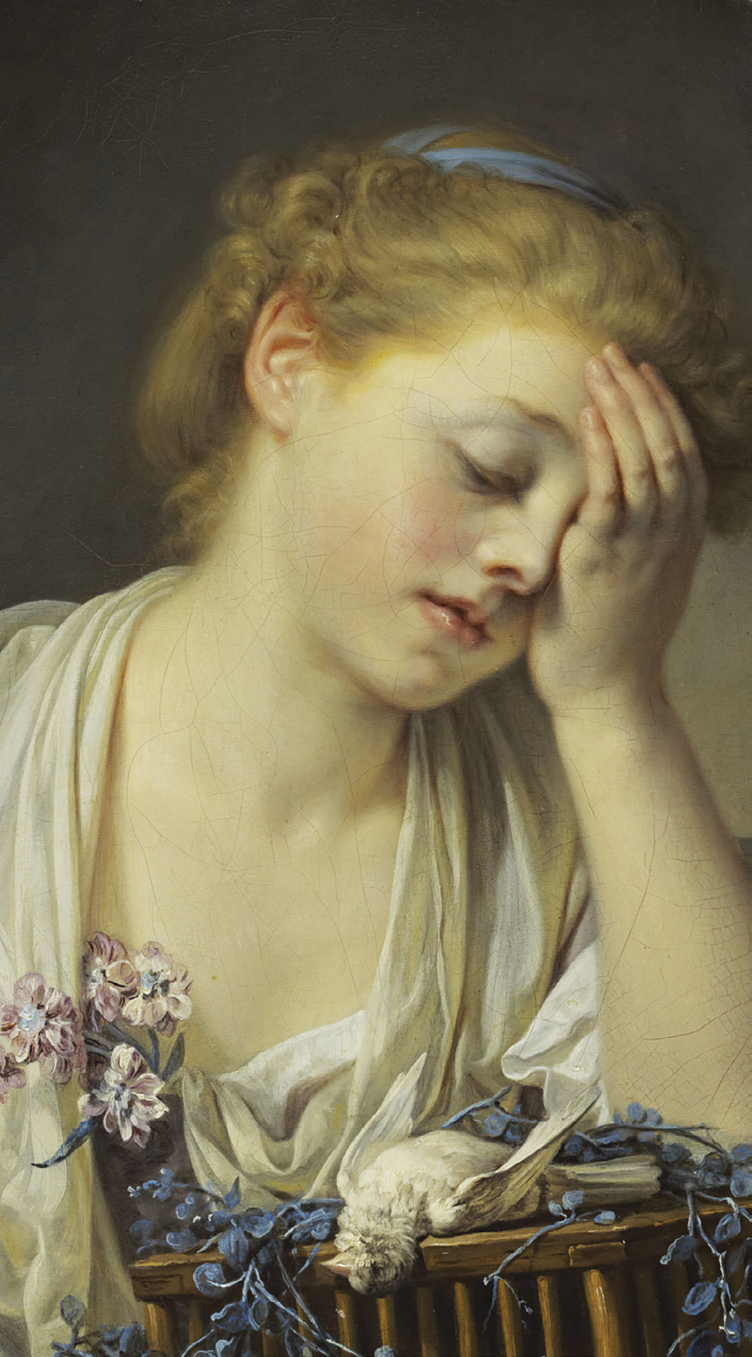 "Jean-Baptiste Greuze, A Girl with a Dead Canary (detail), 1765, oil on canvas, 21 × 18 1⁄4""."