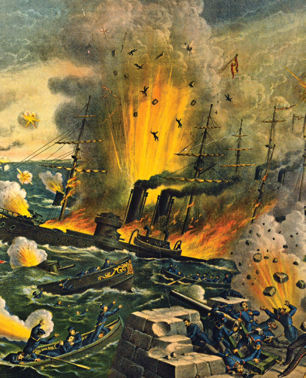 Lithograph detail depicting the Battle of Manila Bay, 1898.