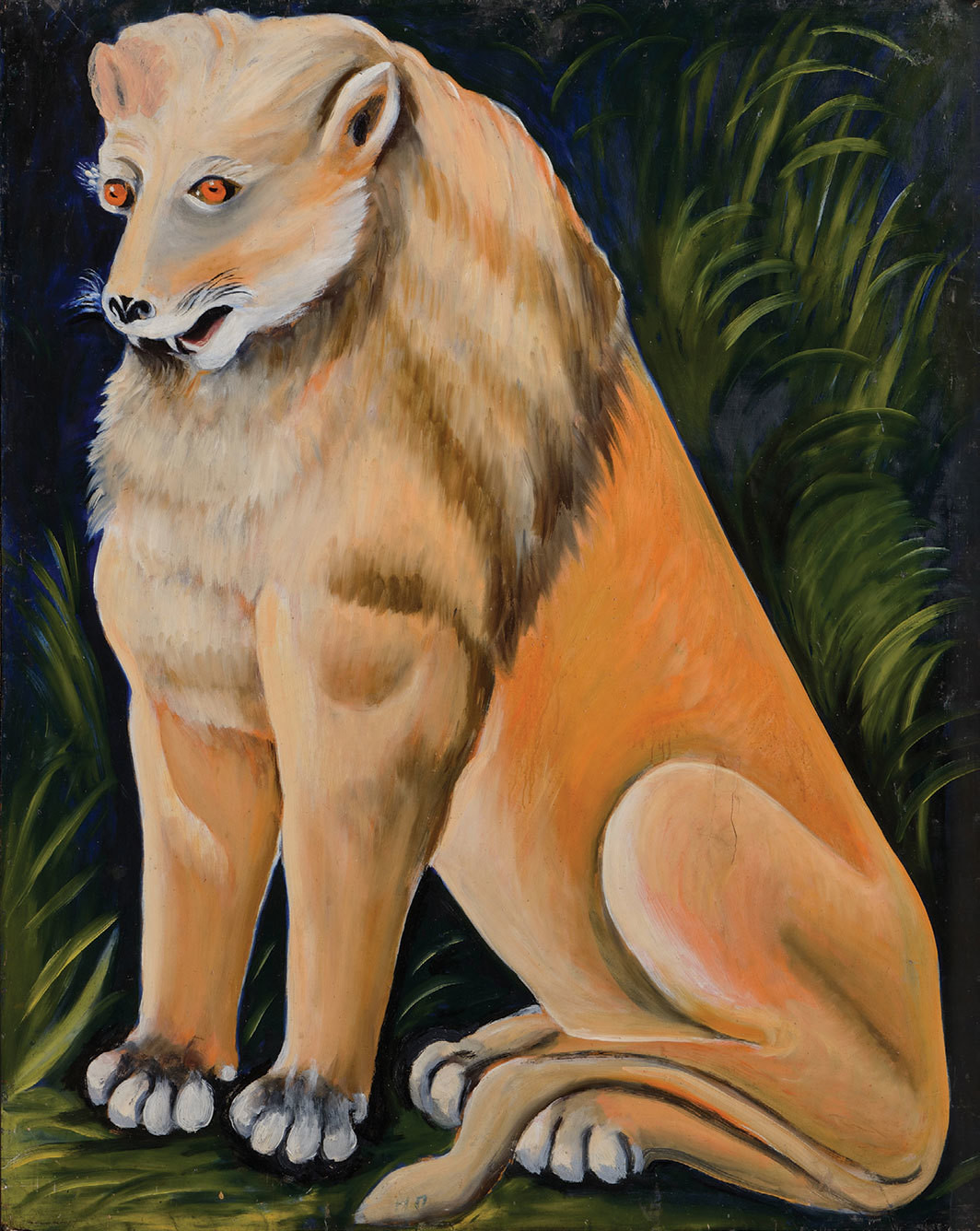 "Niko Pirosmani, Sitting Yellow Lion, date unknown, oil on cardboard, 39 × 31 1⁄2""."