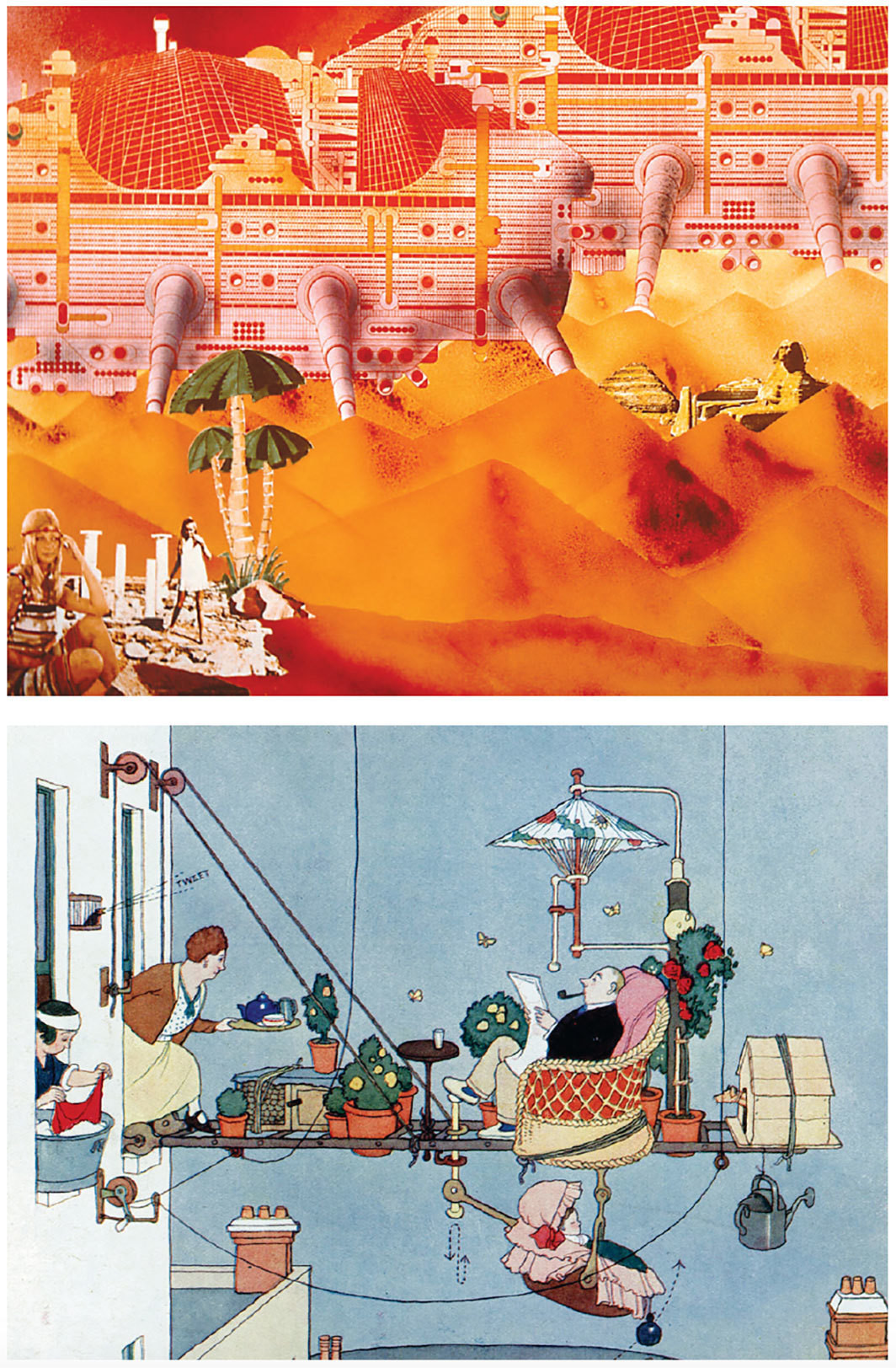 "Top: Ron Herron, Cities: Moving (detail), 1963. From the series ""Walking City,"" 1963. Bottom: William Heath Robinson, An Ideal Home No. II, The Folding Garden (detail), 1933. Both from Home Futures: Living in Yesterday's Tomorrow."