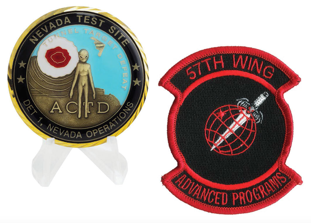 Two objects from Trevor Paglen's From the Archives of Peter Merlin, Aviation Archaeologist. Left: Challenge coin for a Nevada Test Site Advanced Concept Technology Demonstration, 2003. Right: Patch for the 57th Wing unit of the United States Air Force