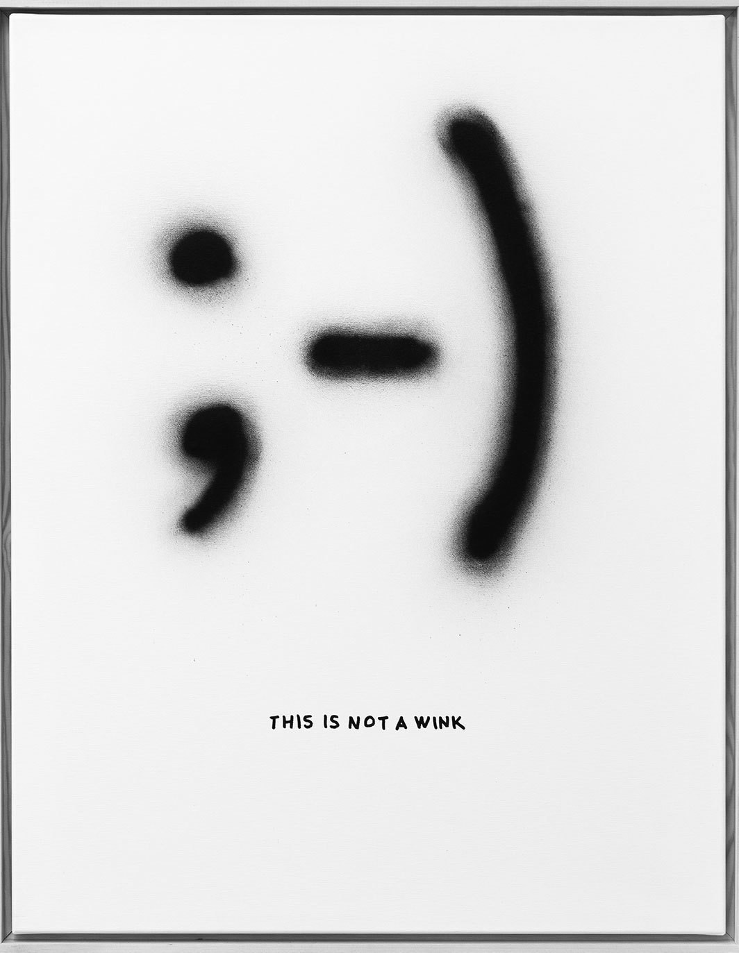 "Florian Kuhlmann, This is not a Wink, 2017, spray paint on canvas, 39 3⁄8 × 27 5⁄8""."