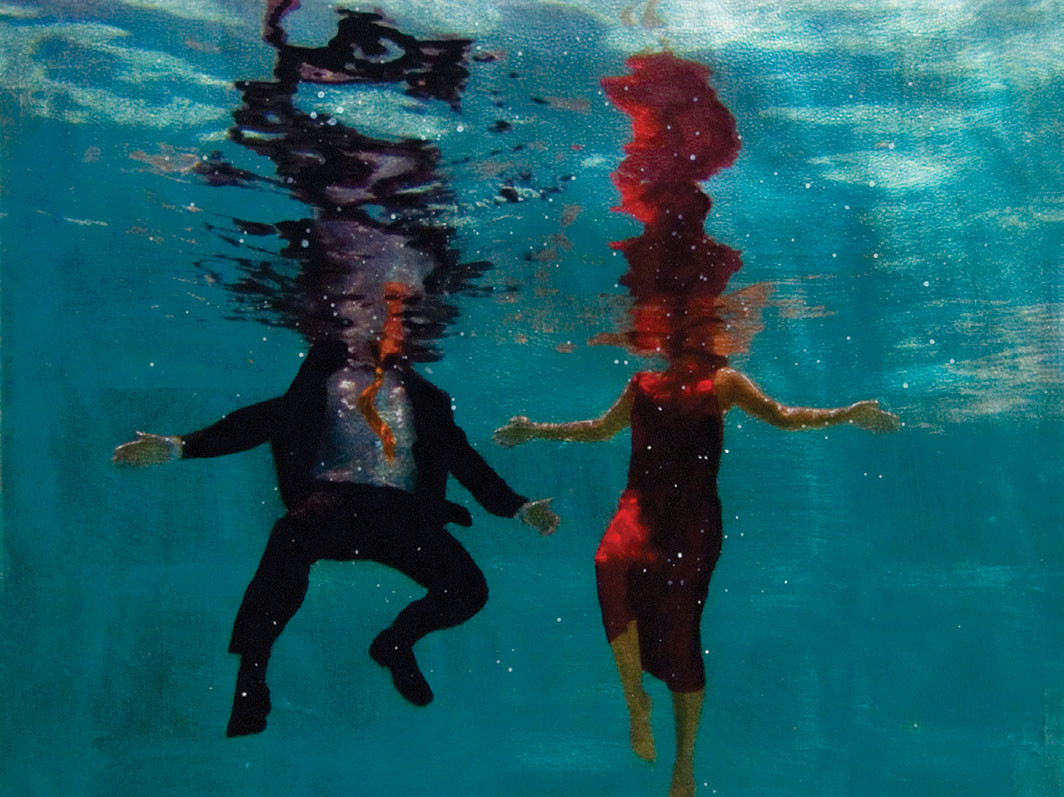 "Eric Zener, Staying Afloat (detail), 2019, ink-jet print, ink, acrylic, silver leaf, and resin on panel, 33 × 30"". Courtesy Gallery Henoch"