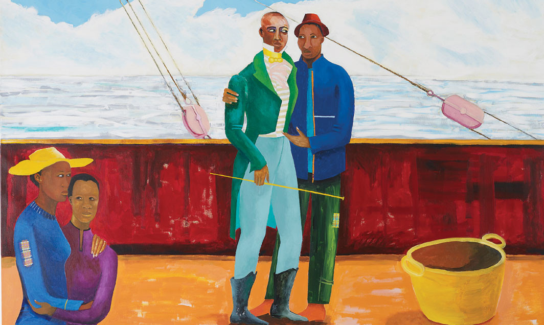"Lubaina Himid, Le Rodeur: The Captain and the Mate (detail), 2017–18, acrylic on canvas, 72 × 96 1⁄8"". Courtesy the artist and Hollybush Gardens"
