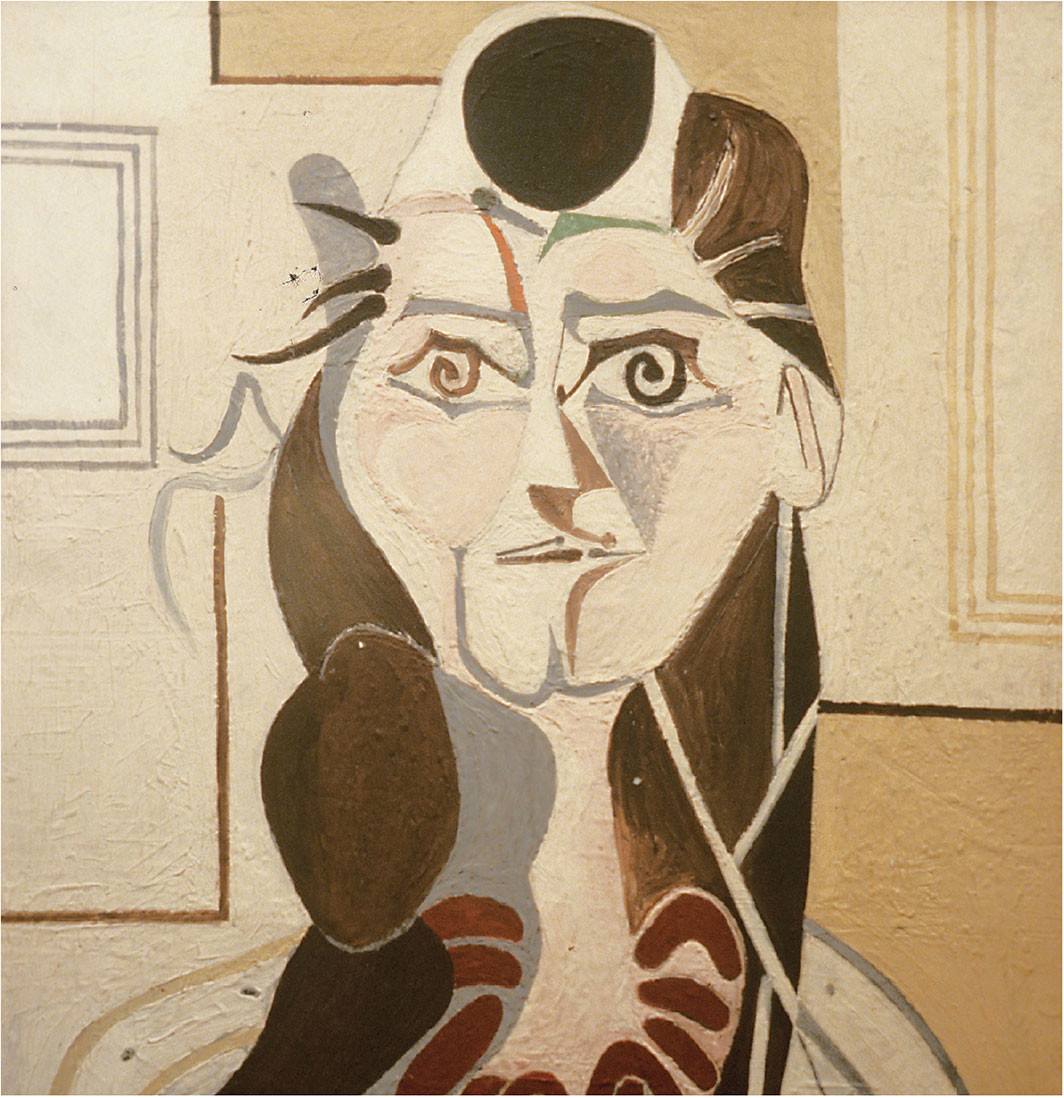 "Françoise Gilot, Portrait of Cécile Miguel II (detail), 1951, oil on panel, 28 3⁄4 × 23 1⁄2""."