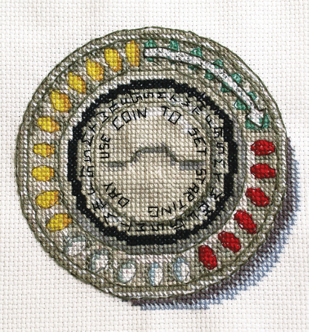 "Katrina Majkut, In Control 2, 2012, thread on aida cloth, 9 × 9""."