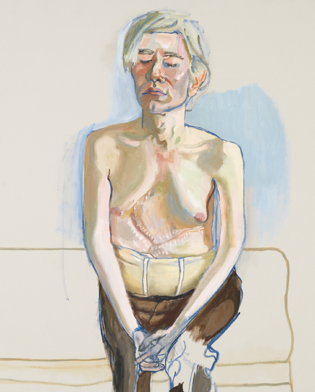 "Alice Neel, Andy Warhol (detail), 1970, oil and acrylic on linen, 60 x 40""."