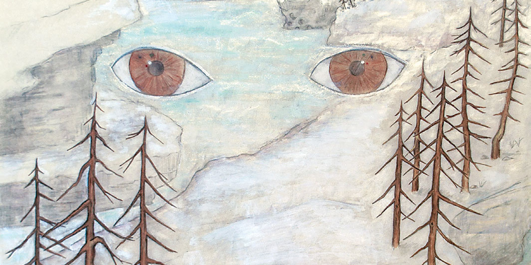 "Mindy Rose Schwartz, Landscape Stares Back (detail), 2005, pencil and ink on paper, 27 × 22""."