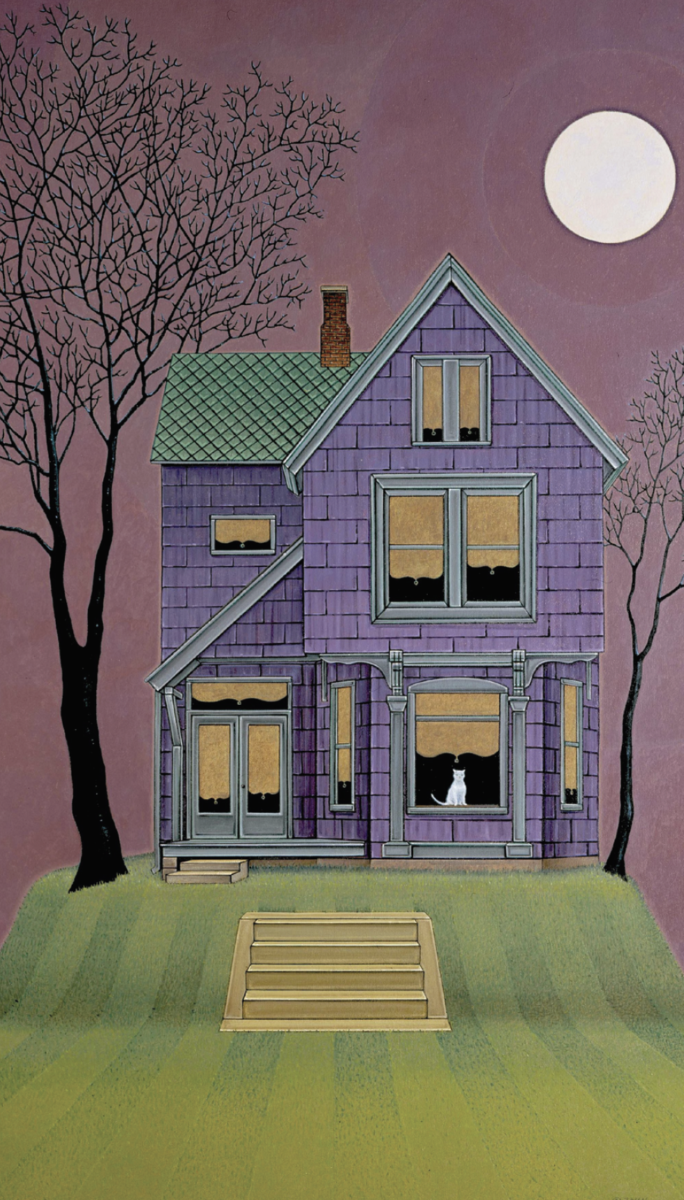 "John Hrehov, House Cat, 2007, oil on canvas mounted on panel, 40 x 27 1/2""."