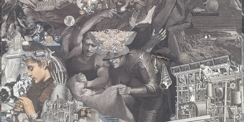 "Jess, The 5th Never of Old Lear (detail), 1974, paper collage, 33 × 28"". © The Jess Collins Trust/Collection of Harry W. and Mary Margaret Anderson"