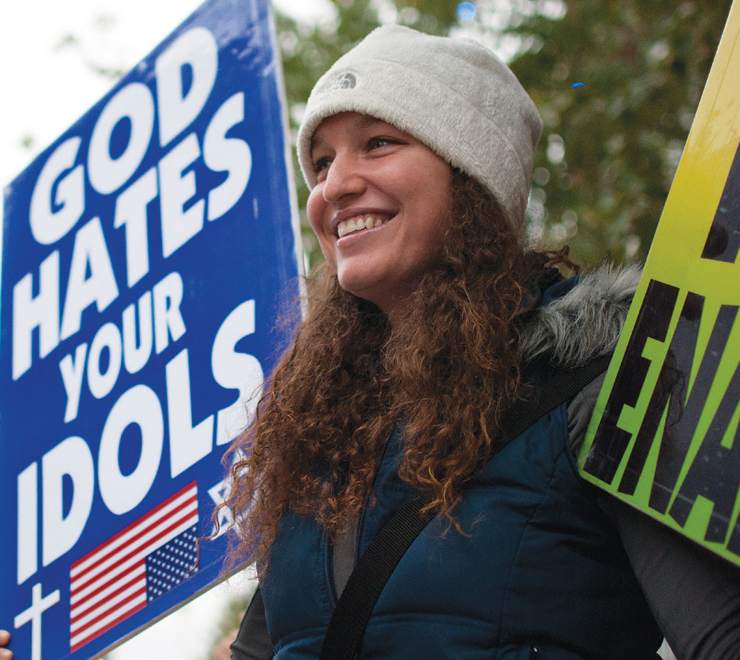 Megan Phelps-Roper at a Westboro Baptist Church demonstration, Kansas City, Missouri, 2011.