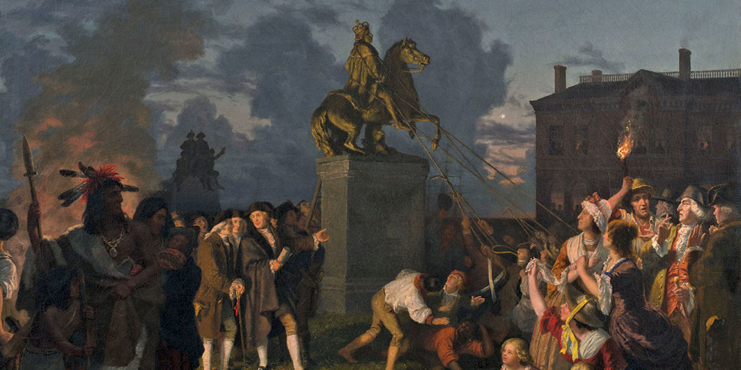 "Johannes Adam Simon Oertel, Pulling Down the Statue of King George III, New York City, 1852–53, oil on canvas, 32 × 41 1⁄4""."