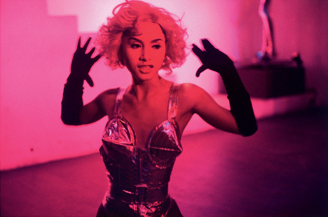 "Nan Goldin, C performing as Madonna, Bangkok, 1992, ink-jet print, 30 × 45"". © Nan Goldin"