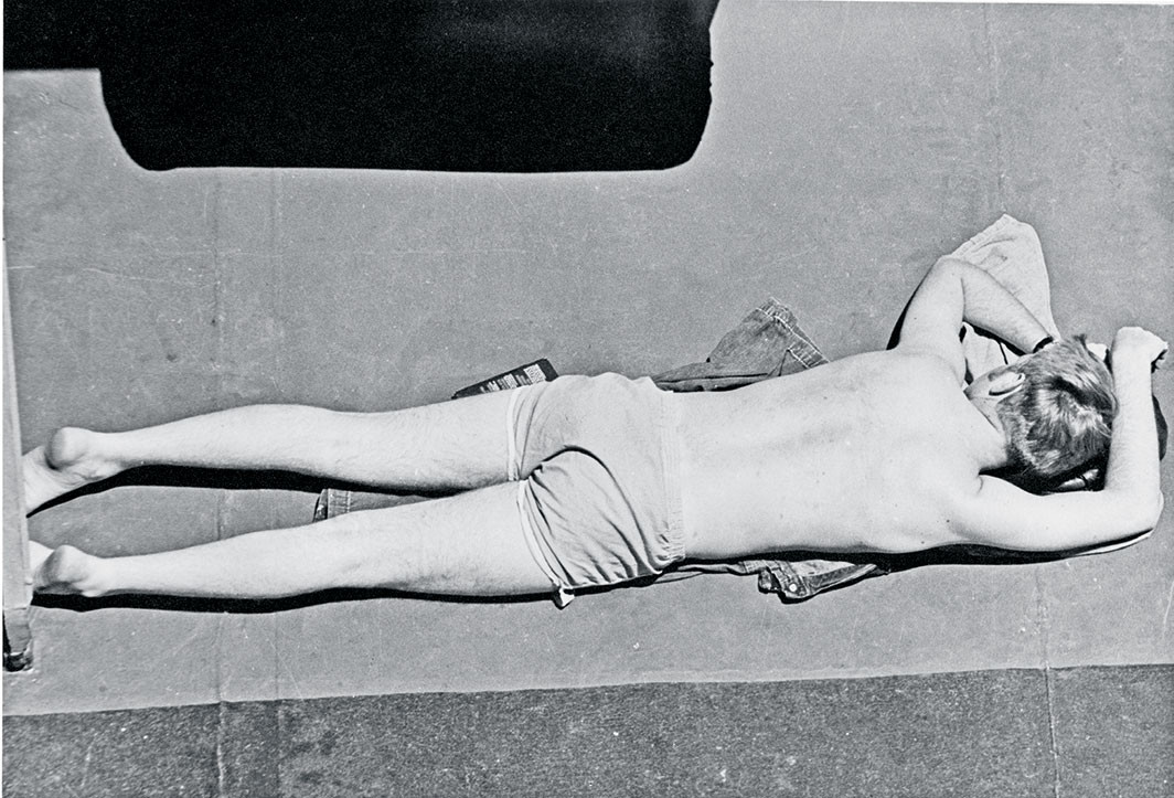 "Alvin Baltrop, The Navy (man lying on deck), ca. 1969–72, gelatin silver print, 4 3/4 × 6 3⁄4"". Courtesy The Alvin Baltrop Trust, Third Streaming, NY, and Galerie Buchholz, Berlin/Cologne/New York"