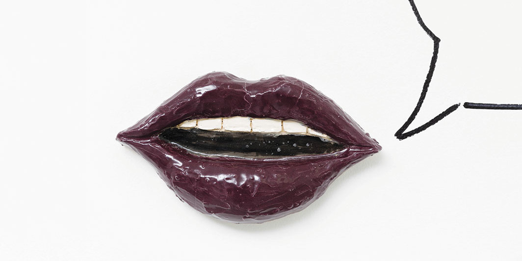"Liz Craft, Little Lips 4, 2015, glazed ceramic, epoxy, 11 × 6 × 2"". Courtesy the artist and Jenny's, Los Angeles"