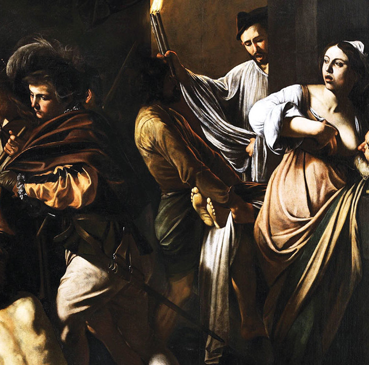 "Caravaggio, Sette opere di Misericordia (The Seven Works of Mercy) (detail), ca. 1607, oil on canvas, 8' 4"" × 12' 6"". Wikicommons"