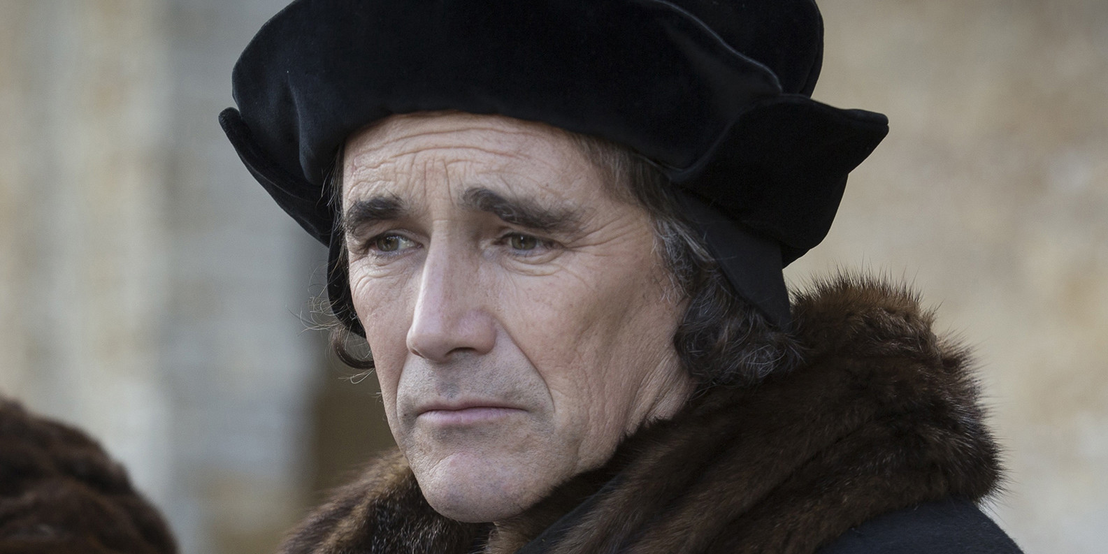 Promotional image for Wolf Hall, season 1, 2015. Thomas Cromwell (Mark Rylance). Ed Miller; BBC Two/PBS
