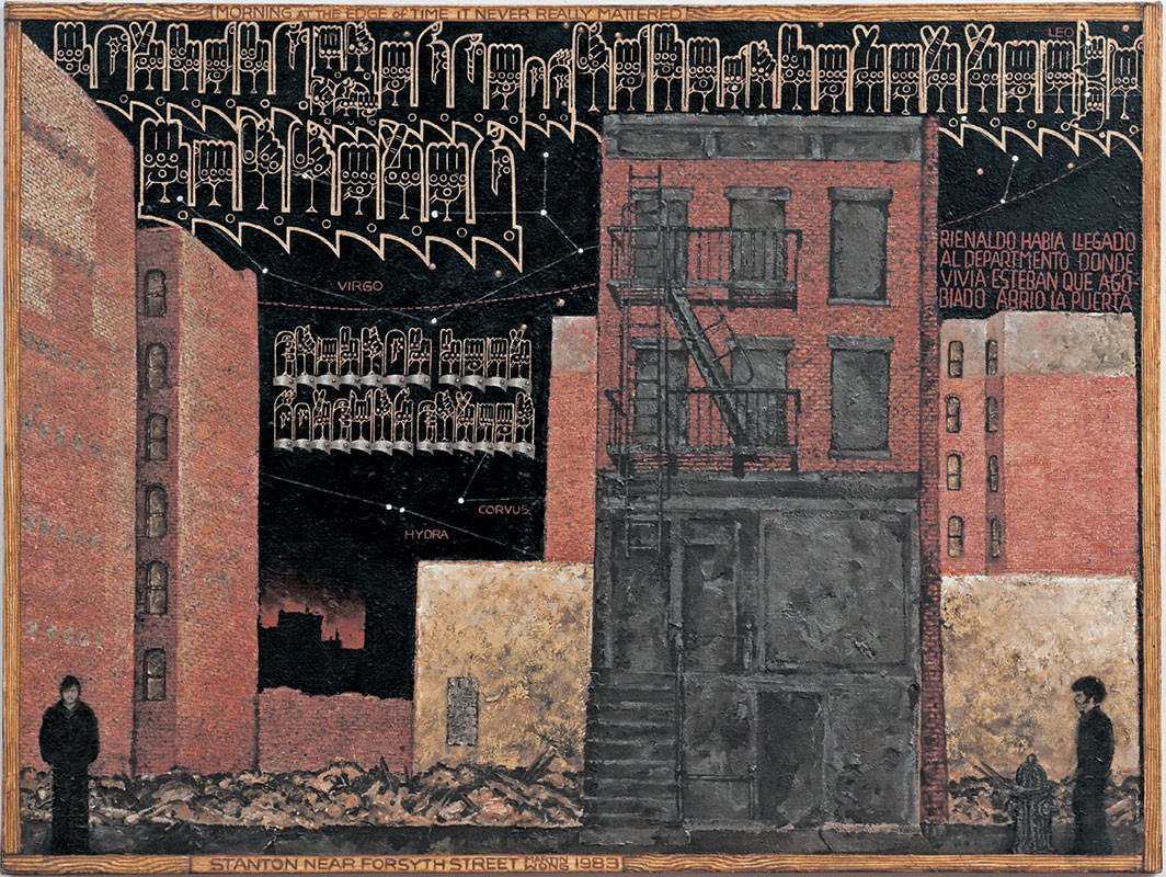 "Martin Wong, Stanton Near Forsyth Street, 1983, acrylic on canvas, 48 × 64"". Courtesy the Estate of Martin Wong and P·P·O·W, New York"