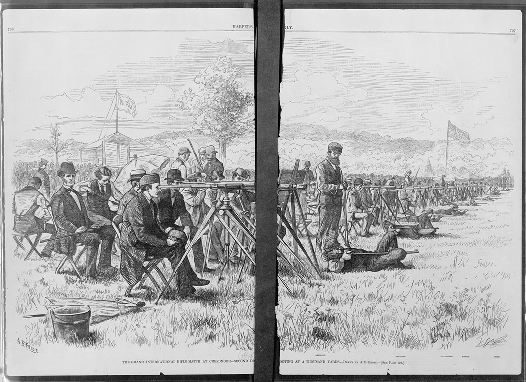 Illustration of the Grand International rifle match at Creedmoor, Long Island, 1876. A. B. Frost/Harper's Weekly/Library of Congress