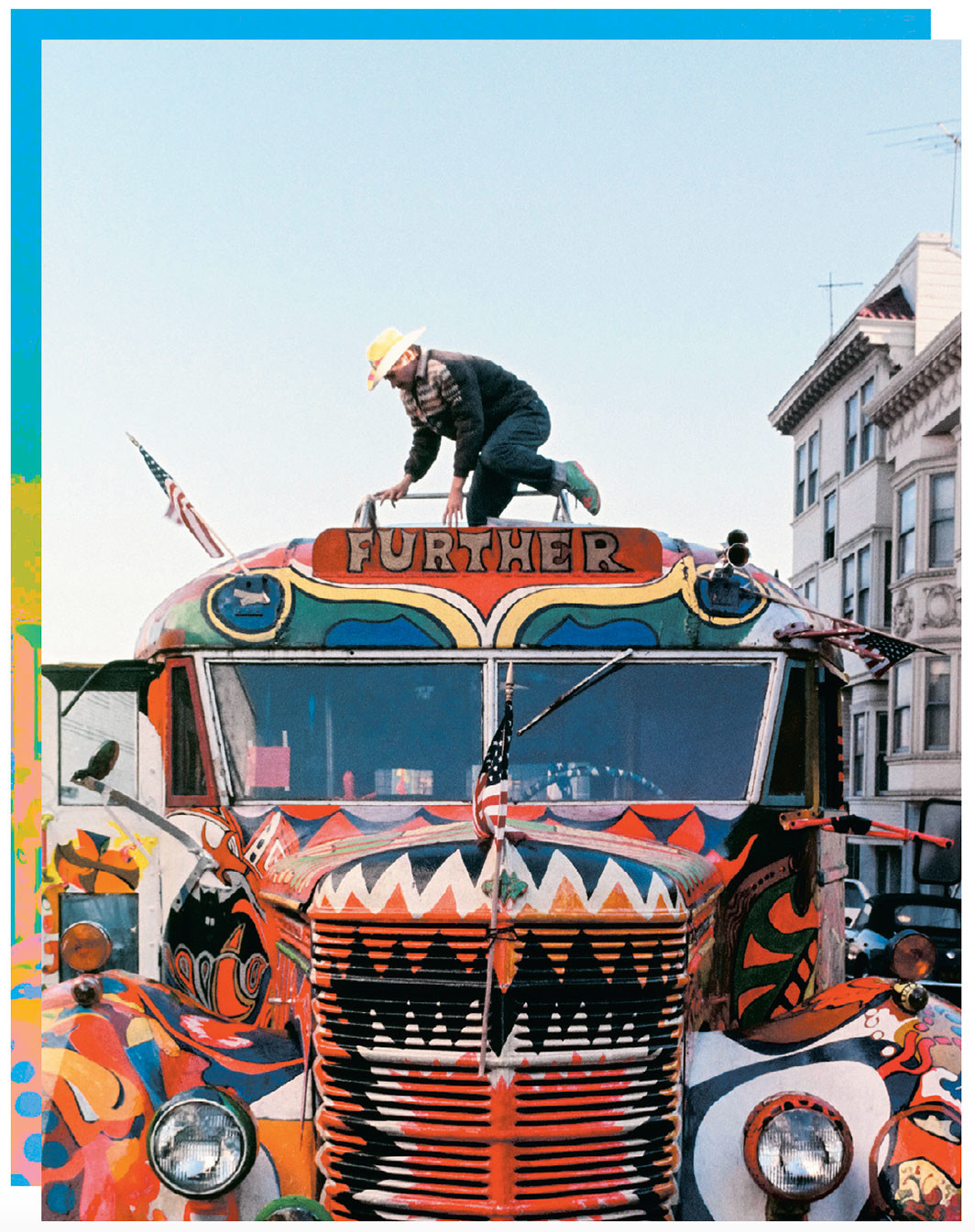 "Ken Kesey's Merry Pranksters bus ""Further,"" San Francisco, 1966. Ted Streshinsky Photographic Archive, Bancroft Library, U.C. Berkeley, Courtesy of Taschen/From Tom Wolfe's The Electric Kool-Aid Acid Test (Taschen, 2014)"