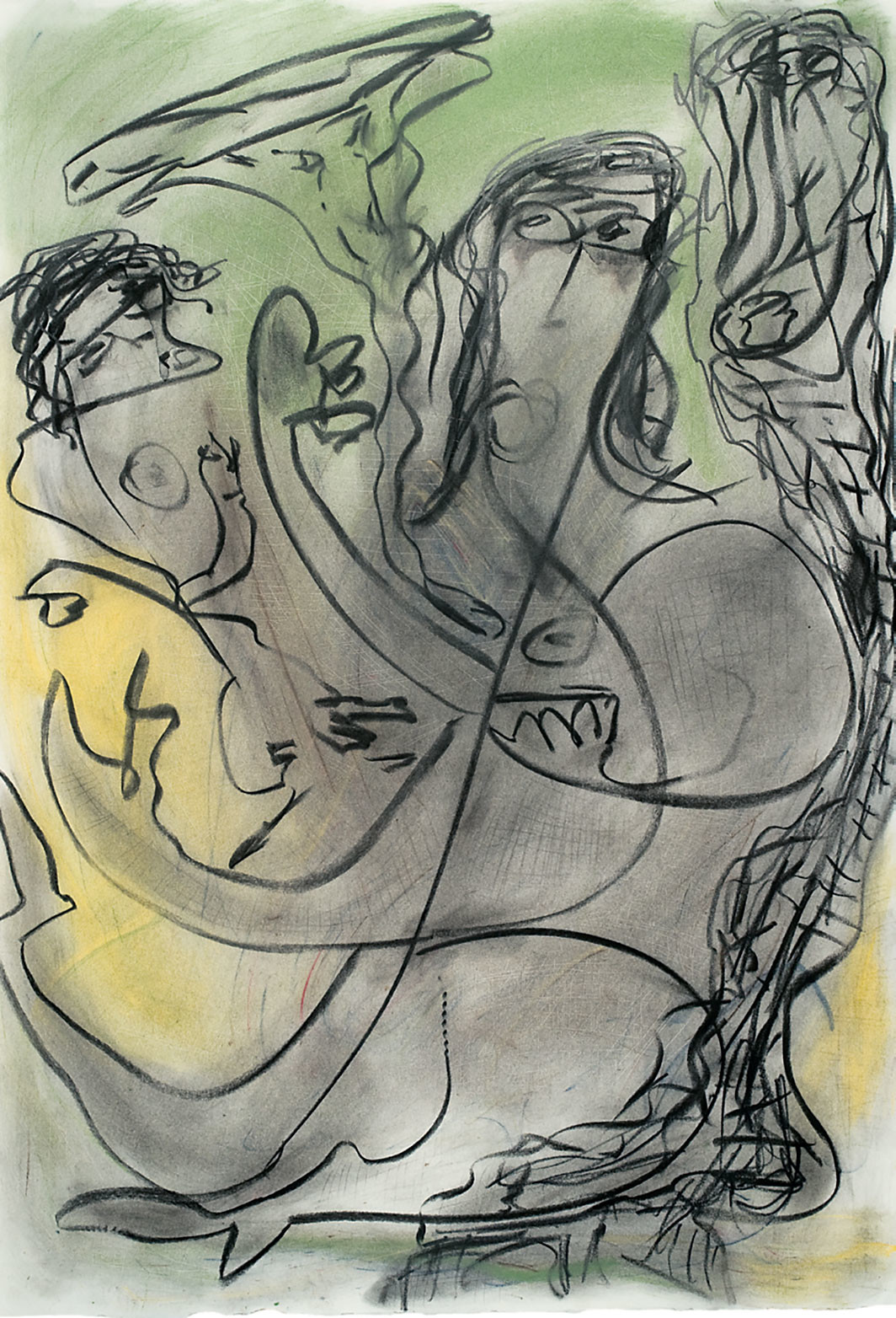 "Thornton Dial, Untitled (Mother and Child), 1995, charcoal and pastel on paper, 41 3⁄4 × 29 1⁄3"". Courtesy Ricco/Maresca Gallery, New York"