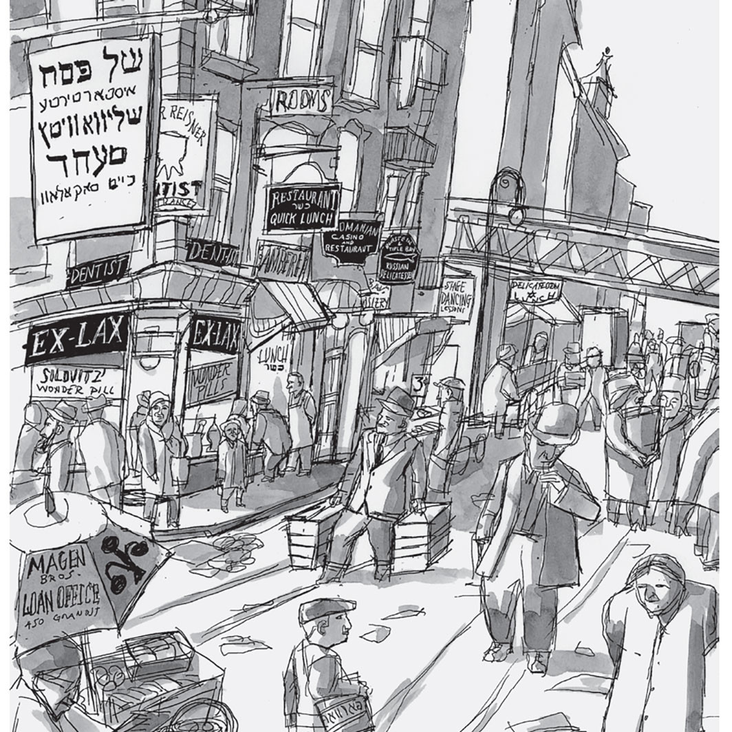 Ben Katchor's illustration of the once-thriving Jewish restaurant culture in Lower Manhattan, 2020. © Ben Katchor