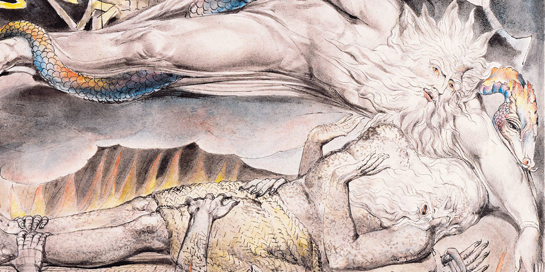 "William Blake, Job's Evil Dreams (detail), ca. 1805–10, pen, ink, wash, watercolor, and graphite on paper, 9 1⁄2 × 11 3⁄8""."