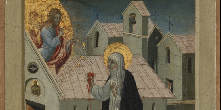 Giovanni di iPaolo, Saint Catherine of Siena Exchanging Her Heart with Christ, tempera and gold on wood, 11 3/4 × 9 1/2''. The Metropolitan Museum of Art