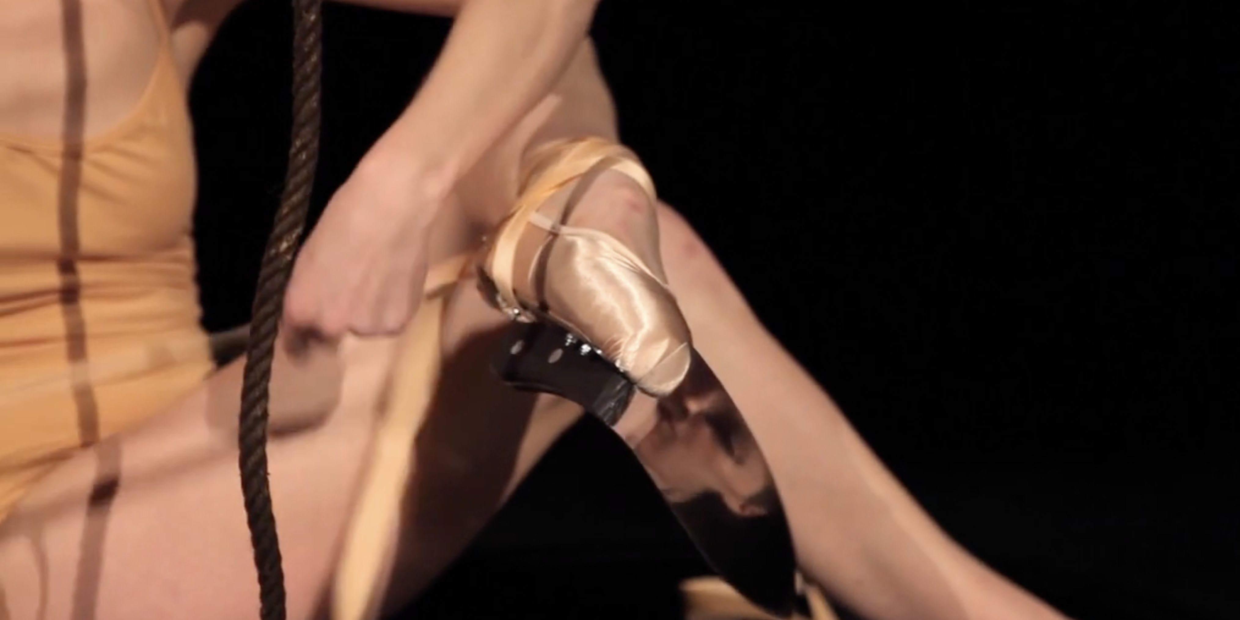 Javier Pérez, En Puntas (detail), 2013, still from the HD video component (color, sound, 9 minutes) of a mixed-media installation additionally comprising pointe shoes and stainless steel knives.