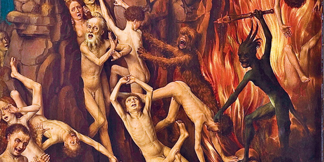 "Hans Memling, The Last Judgment (detail), ca. 1467–73, triptych, oil on panel, this panel 88 1⁄4 × 28 3⁄4"". National Museum Gdańsk"