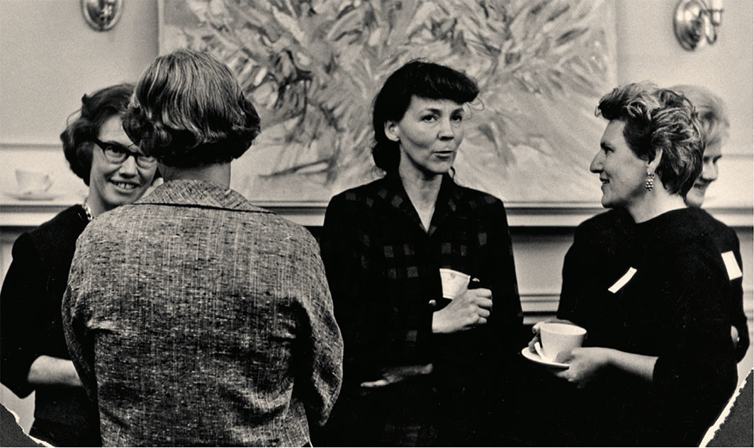 The Bunting fellows in conversation, ca. 1963–65. Olive R. Pierce